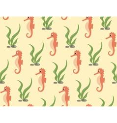 Seamless sea pattern orange seahorse and green vector