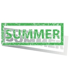 Green outlined summer stamp vector