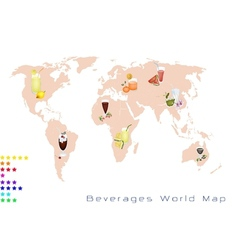 World map of fruits drink and sweet beverage vector