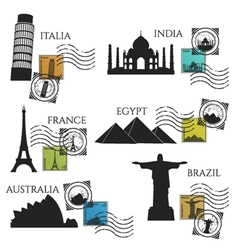 City monuments postage collection vector