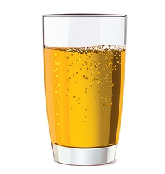 Glass of yellow juice vector