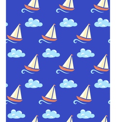 Seamless sea pattern yacht on wave and cloud on vector