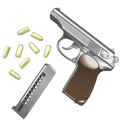 Metal pistol with bullets isolated on white vector