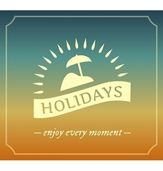 Retro summer holidays logo with frame vector