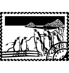 Postage stamp with the penguins vector