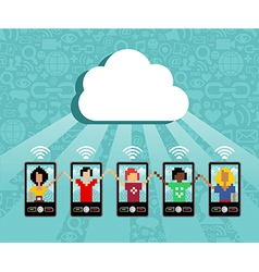 Cloud computing cell phone concept vector