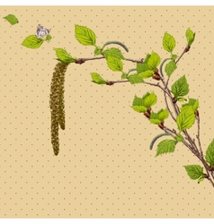Vintage card with birch twigs vector
