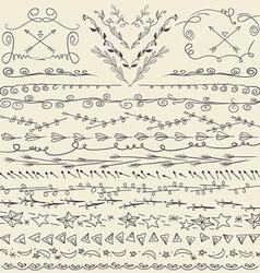 Set of hand drawn lines border and elegant design vector