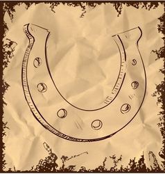 Lucky horseshoe isolated on vintage background vector