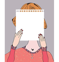 Girl holding paper for text retro vector