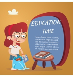 Beautiful education poster isolated on orange vector