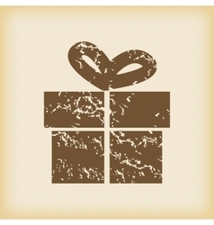 Grungy gift box icon vector
