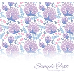 Soft purple flowers horizontal border card vector