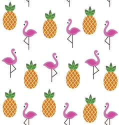 Seamless print with flamingo and pineapples vector