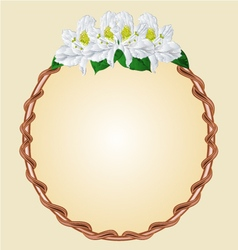 Round frame with white rhododendron greeting card vector