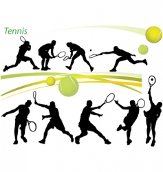 Tennis silhouettes vector