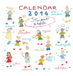Calendar 2014 with kids cover vector