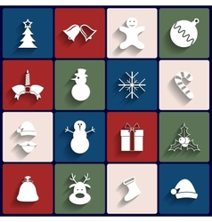 Flat icons set christmas and new year vector