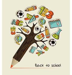 Back to school pencil tree vector