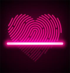 Heart shaped fingerprint scanner vector