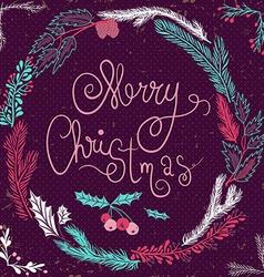 Merry christmas card christmas wreath christmas vector