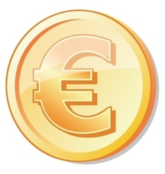 Golden coin with euro shuny sign vector