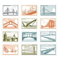 Postage stamps bridges vector