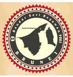 Vintage label-sticker cards of brunei vector
