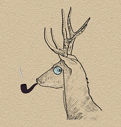 Hipster reindeer smoking tobacco pipe vector