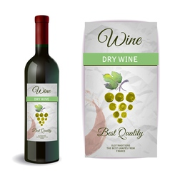 Wine bottle with label wine and grapes vector