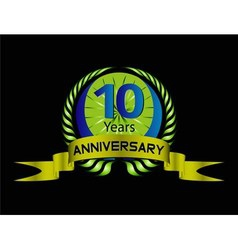 Celebrating 10 years anniversary green laurel vector