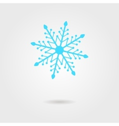 Blue snowflake icon with shadow vector