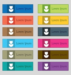 Flower rose icon sign set of twelve rectangular vector