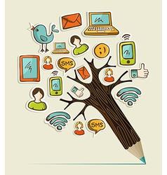 Social pencil tree vector