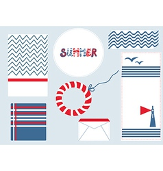 Marine design backgrouns set for summer vector