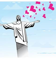 Brazil love god christ the redeemer statue vector