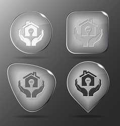 Economy in hands glass buttons vector