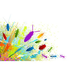 Insect on the rainbow background vector