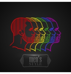With rainbow male faces vector