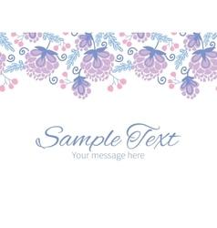Soft purple flowers horizontal border vector