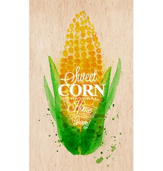Corn watercolor poster vector