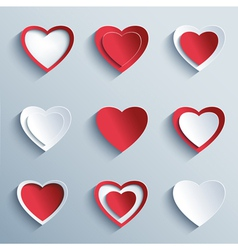 Set of paper hearts design element valentines day vector