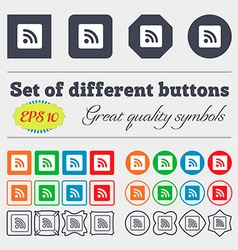 Rss feed icon sign big set of colorful diverse vector