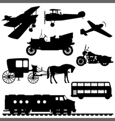 Silhouettes of vehicles vector
