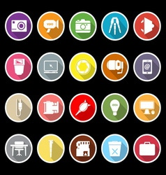 Photography related item flat icons with long vector