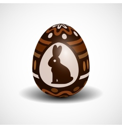 Chocolate easter egg with ornament and rabbit vector