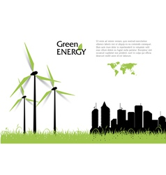 Creative with wind turbines green energy concept vector