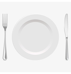Plate and fork and knife vector