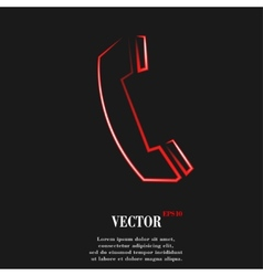 Phone flat modern web button and space for your vector