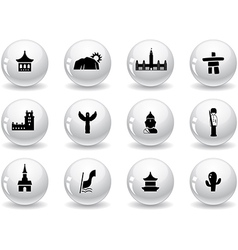 Landmarks and cultures icons vector